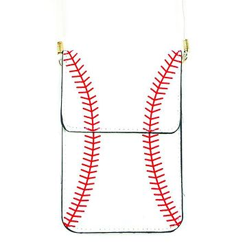 Baseball Cellphone Crossbody Pouch with Strap
