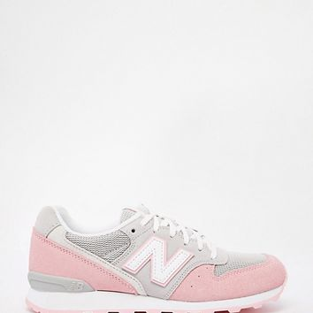 New Balance 996 Pastel Grey/Pink Suede Trainers at asos.com