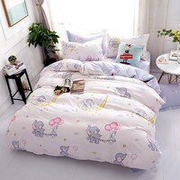 Elephant bedding sets 100% Polyester 4pcs Bedlinen Twin Double full Queen king caetoon white duvet cover flat sheet pillowcase
