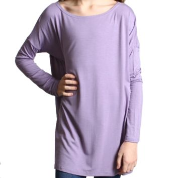Lilac Gray Piko Kids Long Sleeve Top