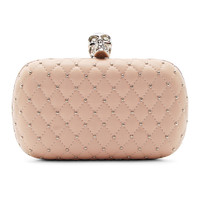 Pink Leather & Crystal Skull Clutch