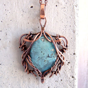 Copper pendant with natural turquoise, unique necklace, turquoise jewelry, gift for her, valentine gift, blue stone, gift for mom, boho.