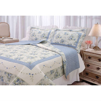 King size 3 Piece Blue Floral Quilt Set with Pillow Shams