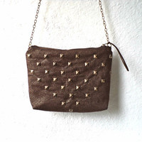 Studded Satchel in Metallic brown linen, chain strap, Light weight, Ready To Ship.