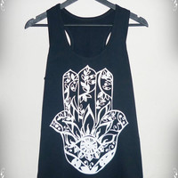 Hamsa tank top Black Shirt Men Women tank top size S M L XL eye graphic Hamsa tank top Black Cotton shirt singlet sleeveless