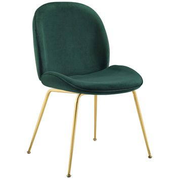 Scoop Gold Stainless Steel Leg Performance Velvet Dining Chair