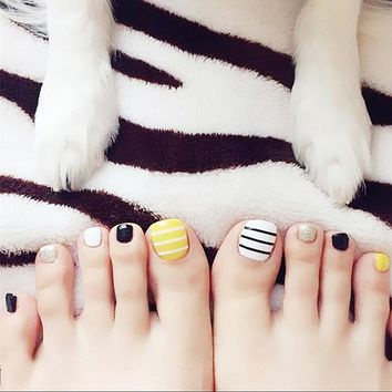 Simple 24PCS/set Black yellow White stripe design summer toes finished fake nails,full Nail tips patch,girl toe art tool bride