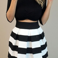 Black Stripes Mini Skirt