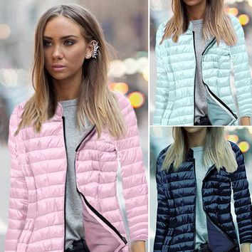 Women Casual Quilted Puffer Bubble Cotton Padded Jacket Thin Zip Hooded Top Coat
