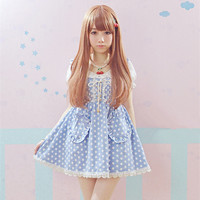 High quality Princess short sleeve dress Lolita Maid Cute one piece dress Khaki Dot lace sweety Heart-shaped pockets dresses