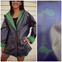 80s navy WHALE reversible raincoat vintage green blue vinyl COAT size L large hooded jacket spring outerwear slicker rain coat 1980s retro