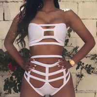 White Halter Bikinis Set High Waist Swimwear Beach Bathing Suit