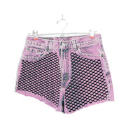 Pink/ Black Mesh Cutoff Shorts