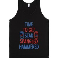 time to get star spangled hammered-Unisex Black Tank