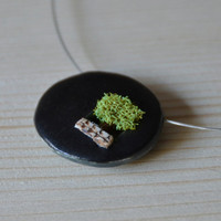 MADE TO ORDER Little Tree -  Double sided Terrarium ceramic pendant necklace with a small tree and sterling silver closure Copy