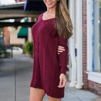 Light A Fire Sweater Dress, Wine
