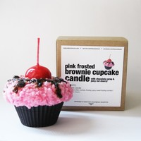 Cupcake Candle - Brownie Cake with Pink Frosting n' Shiny Red Cherry - chocolate & spicy sweet frosting scented