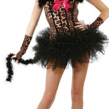 PEAPUG3 Games Apparel Leopard Bra Halloween Devil Uniform Holloween Costume [9211508164]