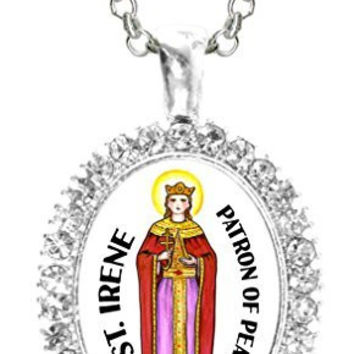 St Irene Patron of Peace Cz Crystal Silver Necklace Pendant