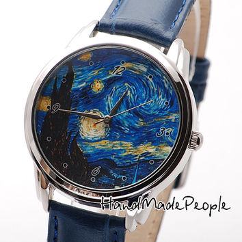 Van Gogh Starry Night Watch, Сlassical Wrist Watch, Watches, Wristwatch, Ladies Watch, Anniversary Gift, Gift Idea - Free Shipping Worldwide