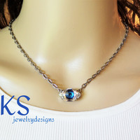 NEW, These Eyes, Swarovski Pendant, Earring Set, Evil Eye, Blue, Choker, Lever Backs, Teen Gift, DKSJewelrydesigns, FREE SHIPPING