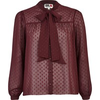 Red Chelsea Girl polka dot pussy bow blouse
