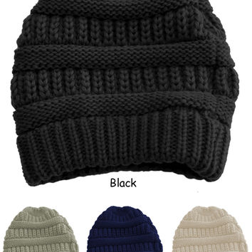 Anemone Thick Slouchy Cable Knit Oversize Beanie