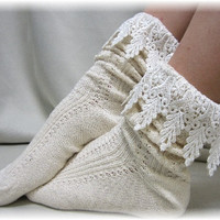 Boot socks, Boot Bliss, lace socks, knit, cuff, short, slouch, ankle, cowboy, Ivory | SLXC2