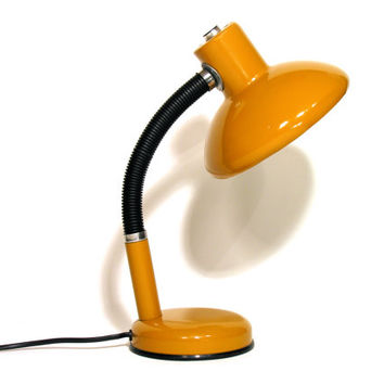 French Yellow Table Lamp-Desk Lamp-Office Lamp-1970-Articulated Lamp-Made In France-Industrial Home Decor-Collectible
