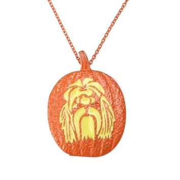 Pumpkin Shih Tzu Necklace Pendant Dog Lover Halloween Charms Memorial Gift Jewelry Necklace Women Choker Orange Lead Free