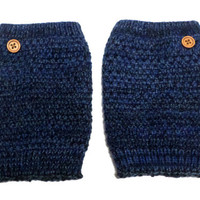 Women's Navy Blue Mix Popcorn Pattern Crochet Knit Button Boot Cuffs, Boot Toppers, NEW COLORS, gift