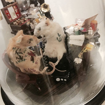 Sailor Jerry Tattoo Shop Anthropomorphic Mouse Miniature Dome (Custom Mouse Taxidermy Gift)