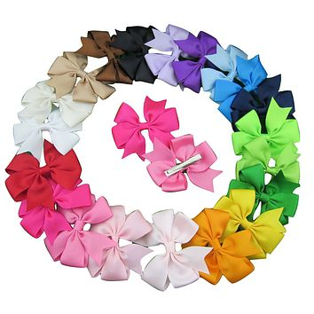 3 inch Ribbon Hair Bows with Clip - 20 piece SET
