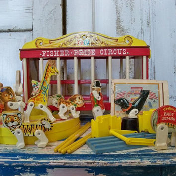 Vintage toy wooden Fisher Price circus wagon collectible display piece Anita Spero