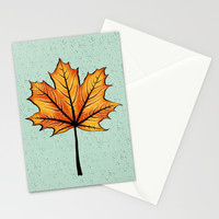 Yellow Orange Autumn Leaf On Blue | Decorative Botanical Art Stationery Cards by borianagiormova