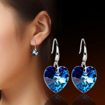 Fashion Women 925 Silver Plated Ear Hook Blue Crystal Rhinestone Earrings Stud