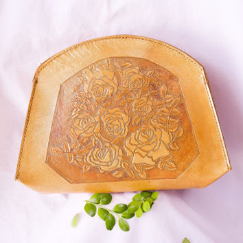 Genuine leather hand bag with rose hand tooled design / leather bag / leather clutch / woman bag / handmade leather bag