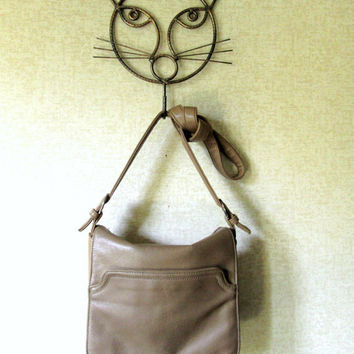 Crossbody Bag leather satchel flap bag long strap purse slouchy shoulder bag light brown tan taupe leather boho hipster bag vintage 80s 90s