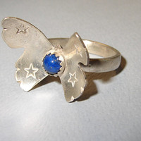 Silver Butterfly Ring with Lapiz Lazuli Sterling silver ring