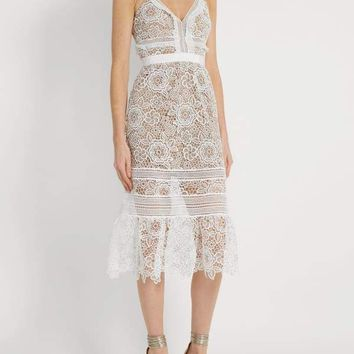 White Embroidered Lace Midi Dress