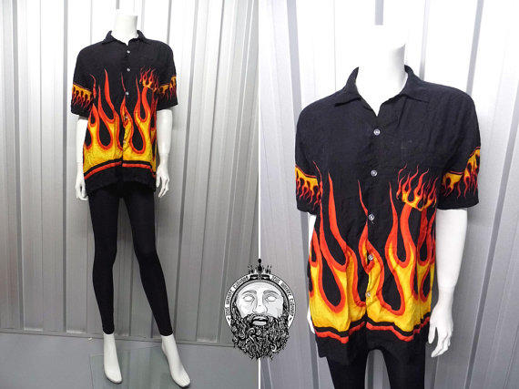 Vintage 90s Grunge Flame Print Fire Shirt From Zeusvintage On