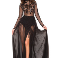Clothing : Max Dresses : 'Naqiya' Black Bandage and Net Hand Embellished Maxi Dress - Limited Edition