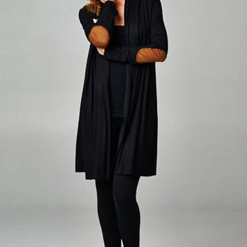 The Kensie Black Cardigan With Elbow Patch