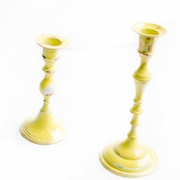 Pair of Vintage Shabby Chic Hand Painted Lemongrass, White & Brass Candlestick Holders/Upcycled Yellow Home Decor