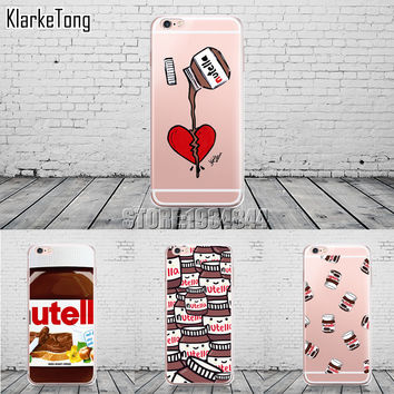Cute Tumblr Nutella Design Transparente Silicone Case Cover For iPhone 6 6s 5 5s se 7 6plus Cell Phone Cases