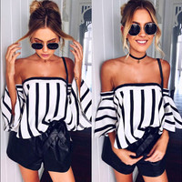 Print Stripes Tops Women's Fashion T-shirts [11285946511]