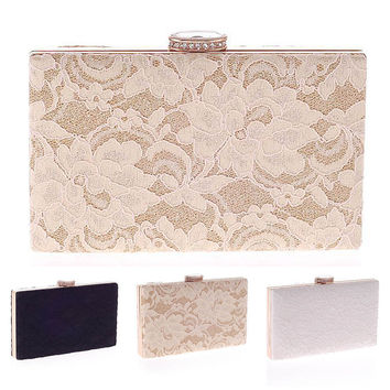 Lace Clutch Bag New Lace Satin Evening Bags High-Grade Silk Party Bag Exquisite Day Clutches
