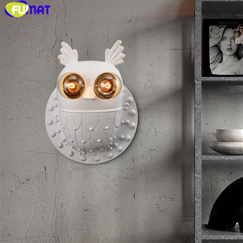 Creative Kids Resin Owl Wall Sconce North European Style Brief Living Room Bed Room Bar Wall Lamp Home Decoration Lamp