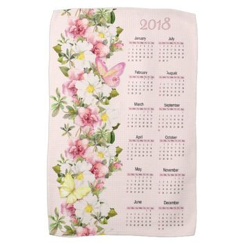 Pink Floral Butterfly 2018 Calendar Kitchen Towels