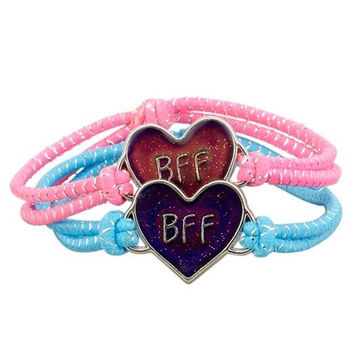New Arrive Set Of 2Pcs  Bff heart Mood Bracelets Glitter Heart Pendants In Pink And Purple Fashion Kids Bracelet Jewelry